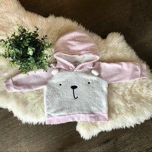 5/$20 Baby Gap pink and cream teddy bear hoodie